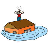 Flooded House. An image of a man on the roof of his flooded house screaming for help Royalty Free Stock Images