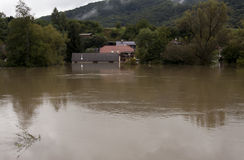 Flooded house Stock Image