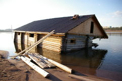Flooded house. In the water Royalty Free Stock Photography