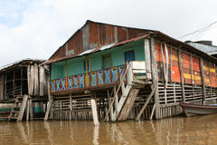 Flooded House. A flooded home, standard during the rainy season, near Iquitos Peru stock image