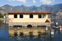 Flooded house at San Pedro on lake Atitlan. Guatemala royalty free stock photo