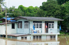 Flooded house in Thailand Royalty Free Stock Photography