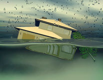 Flooded house under water 3D illustration. House under water during rainy day abstract 3D rendering