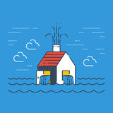 Flooded house in water Royalty Free Stock Images