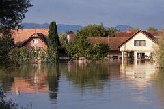 Flooded houses royalty free stock photos