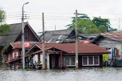 Flooded houses in Bangkok, Thailand Royalty Free Stock Photography