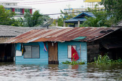 Flooded houses in Bangkok, Thailand Stock Image
