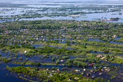 Flooding in the village, top view royalty free stock photo