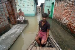Flooded India. Flood water continues to rise in Uttar Pradesh, where the situation continued to remain grim with the swollen rivers inundate thousands of stock images