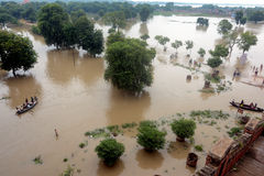 Flooded India. During the rainy season flood water continues to rise in Uttar Pradesh, where the situation continued to remain grim with the swollen rivers Stock Photo