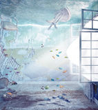Flooded interior. Underwater flooded interior. 3d creative concept Stock Photography