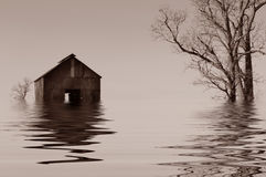 Flooded Iowa farmhouse Royalty Free Stock Photos