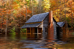 Flooded Iowa House. Image of a flooded House In the farmland of Iowa stock images