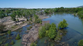 Flooded island on the Boise River stock footage