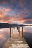 Flooded jetty in Derwent Water, Lake District, England Royalty Free Stock Photo