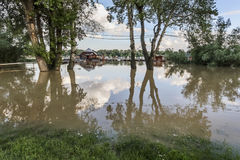 Flooded Land With Floating Houses At Sava River - New Belgrade -. Risen Sava river water level, with floating houses along its banks, green trees canopies, and Royalty Free Stock Photography