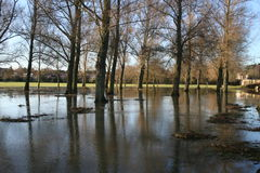 Flooded land and park. Flooded park, field and land after heavy rains, UK Royalty Free Stock Photos