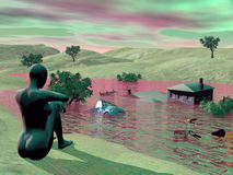 Flooded landscape - 3D render Royalty Free Stock Photos