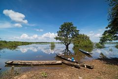 Flooded Landscape With Fishing Boats royalty free stock photos