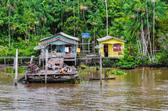 Flooded local huts on the Amazon River, Brazil Stock Photography