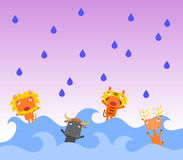 Flooded mammals. A group of stressed animals in a flood Royalty Free Stock Photography