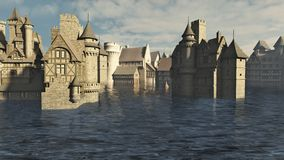 Flooded Medieval Town. 3d digitally rendered illustration Royalty Free Stock Photo