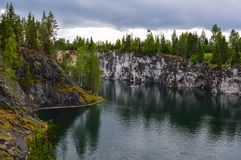 Flooded mine. Flooded old marble mine, Ruskeala stock image