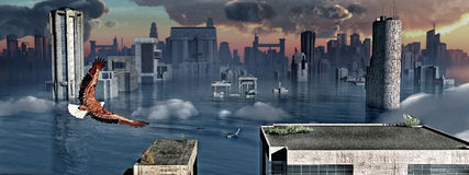 Flooded modern city. Panoramic three dimensional illustration of modern city with skyscrapers under water; bird flying in foreground Stock Photography