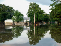 Flooded Neighborhood. Flooded Homes from a devastating 2007 flood and subsequent oil spill in Coffeyville, Kansas royalty free stock photography