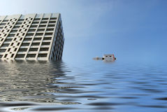 Flooded office blocks Stock Photos