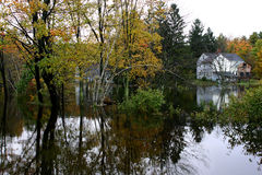 Flooded Out #1. View of flooded neighborhood after week long rain storm in New England Stock Photography