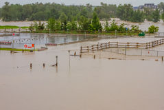 Flooded Parking Lot. Flooded Calgary Southland dog park parking lot during the 2013 flood Stock Images