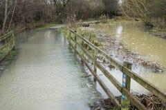 Flooded Path. Way in Nene Park, Peterborough, Cambridgeshire, England, UK. January 2014 stock photos