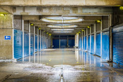 Flooded Pedestrian Underpass. In Golden Lane Estate, a 1950s council housing complex in the City of London Stock Photography