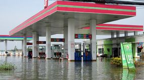 Flooded petrol station Stock Images