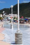 Flooded Philipsburg Beach Stock Images
