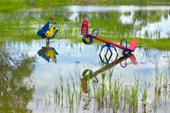 Flooded playground Stock Photo