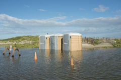 Flooded Porta Potties Royalty Free Stock Images