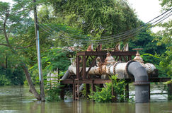 Flooded pump station Royalty Free Stock Photo