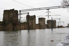 Flooded railway Royalty Free Stock Image