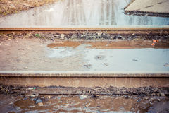 The flooded railway. Royalty Free Stock Images