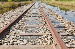 The Flooded Railway Track Royalty Free Stock Photo