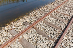 The Flooded Railway Track Stock Photography