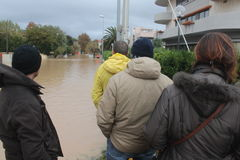 Flooded residential areas In Marina di Carrara and rescue Stock Photo
