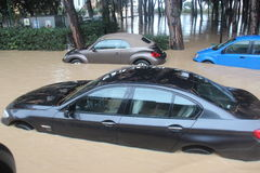 Flooded residential areas In Marina di Carrara and rescue Stock Images