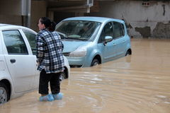 Flooded residential areas In Marina di Carrara and rescue Stock Photography