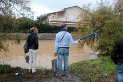Flooded residential areas In Marina di Carrara and rescue Stock Image