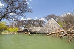 Flooded resort at Lake Baringo in Kenya. Royalty Free Stock Photos