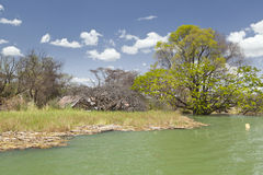 Flooded resort at Lake Baringo in Kenya. Royalty Free Stock Photography