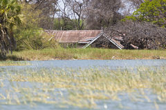 Flooded resort at Lake Baringo in Kenya. Royalty Free Stock Photo